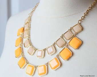 Double Strand Statement Necklace Yellow Orange Statement Necklace Bib Necklace Multi Strand Necklace