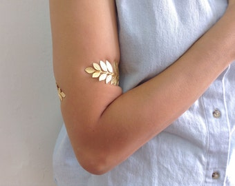 Upper Arm Cuff Bracelet, Leaf Bracelet, Cuff Bracelet, Gold Bracelet, Bridal Bracelet, Body Jewelry, Wedding Bracelet, Prom Bracelet