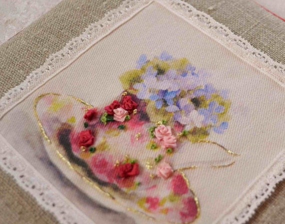 Silk Ribbon Embroidery Kit Roses Teacup Printed Panel