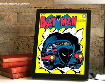 Batman Framed Print, Batman No 20 Art Print, Batmobile Framed Art, Batman and Robin, Comic Book, Comic Book Art, Superhero Golden Age Comics