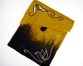 kindle case, gadget case, kindle cover, felted kindle paperwhite case, felt kindle sleeve, kindle paperwhite (Mustard, black))
