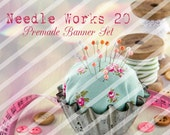 """Banner Set - Shop banner set - Premade Banner Set - Graphic Banners - Facebook Cover - Avatars - Bisiness Card - """"Needle Works 20"""""""