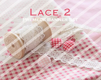 "Banner Set - Shop banner set - Premade Banner Set - Graphic Banners - Facebook Cover - Avatars - Bisiness Card - "" Lace 2"""
