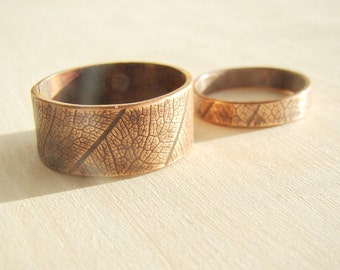 Matching couple jewelry, His and her ring set, rustic hammered copper set of rings, leaf rings, nature Wedding Bands, Matching Couple Rings