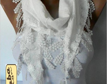 White Scarf with Trim Edge -- White Scarf- gift Ideas For Her Women's Scarves-christmas gift- for her -Fashion accessories
