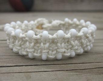 Hemp Bracelet, White Hemp Bracelet, White Hemp, Hemp Jewelry, Macrame Bracelet, White Macrame Bracelet, Adjustable Hemp Bracelet
