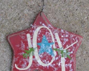 Wooden Christmas Ornament  RJ5161 Joy Red Star Ornie