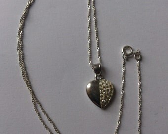 sterling silver and diamante heart pendant and chain