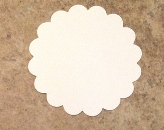 12 scalloped circles 4 inch white cardstock