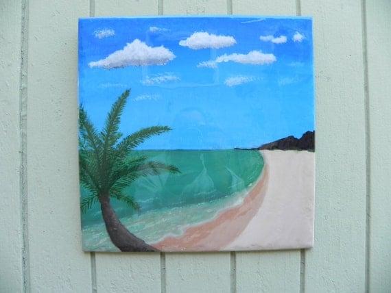 painted beach scene hanging tile wall art free u s. Black Bedroom Furniture Sets. Home Design Ideas
