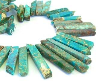 "15"" Jasper 15mm 45mm GRADUATED Blue stick slab focal freeform rectangle gemstone Beads - snakeskin - Impression stone - Half / Full strand"