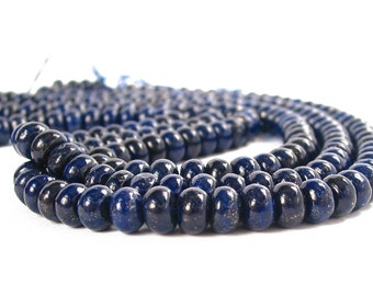 "15"" 6mm 8mm Lapis Lazuli rondelle beads gemstone - dark blue - full strand"