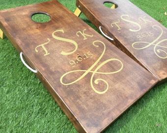 Dark Walnut Stained Custom Personalized Cornhole Board Sets