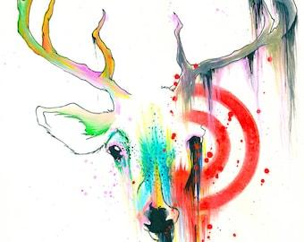 5x7 Original Deer Target Watercolor Painting Antlers Animal Art Print