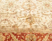 Large Hand Woven Oushak Wool Rug, Ivory, Terracotta 12' x 18'