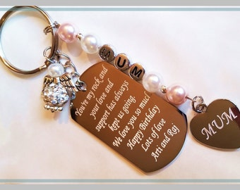 Engraved keyring military dog tag men's father's gift Christmas free gift bag