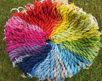 Naturally dyed spun silk yarn in 20 metre skeins