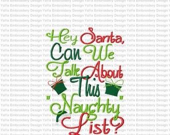 Santa's Naughty list embroidery design