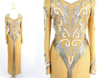 Sequin Dress HEAVY Gold Long Gown
