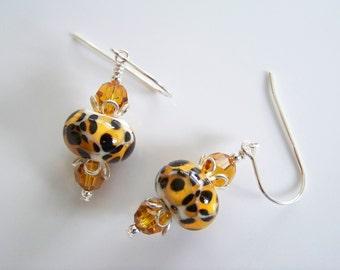 Animal Print Artisan Lampwork and Crystal Earrings - Item E1896