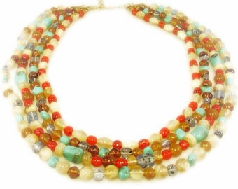 Colorful Four Strand Beaded Necklace