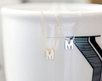 uppercase Initial Necklace (Gold) - personalized monogram necklace, bridesmaid necklace, gold, uppercase initials