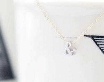 3D Ampersand Necklace (Silver) - ampersand, unique, friendship necklace, silver necklace