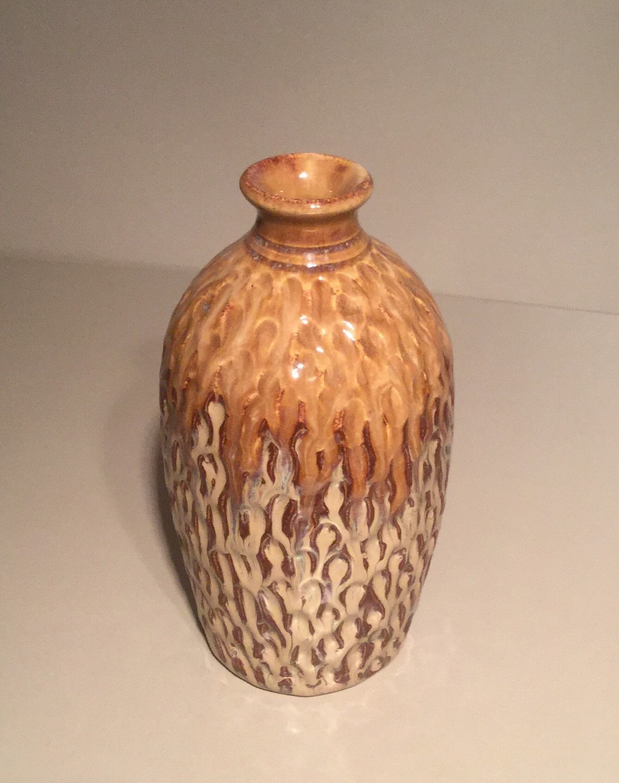 Carved bottle vase handmade pottery ceramics