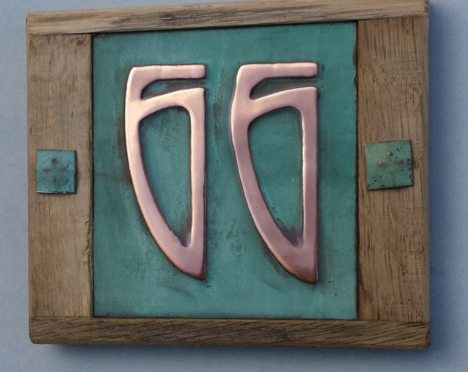 "Art Nouveau Copper 3""/75mm, 4""/100mm and Oak Plaque, 2 x nos. Patinaed, polished and laquered o"