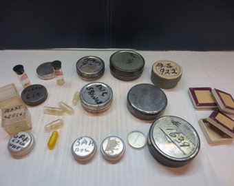 Assortment of Old Mini Tins, Capsules And Tiny Boxes