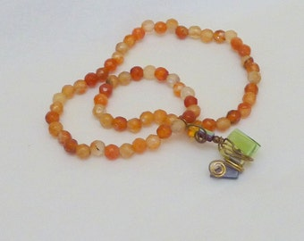 Orange & Brown Variegated Glass Beads Necklace