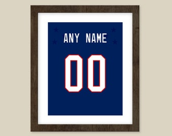 Team USA Hockey Jersey - Personalized with ANY Name & Number - Sizes -5X7 8x10 12X18 16X20 Print