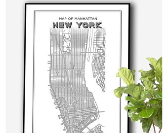 New York Map PRINTABLE FILE - New York Print, manhattan print, manhattan map, line maps, map print, digital prints, new york wall art