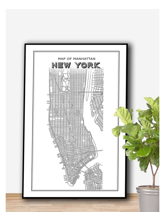 Manhattan New York Map Poster PRINTABLE FILE Vintage by Dantell – Printable Map of Manhattan Nyc