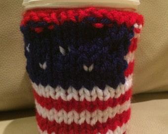Starbucks 4 July, patriotic cozy cup, American flag