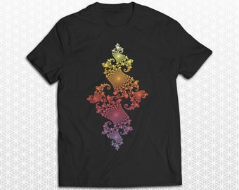 Fire Fractal Sacred Geometry Color Fade Tshirt