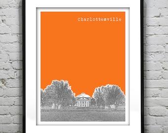 Charlottesville Virginia Poster Art Skyline VA Version 2
