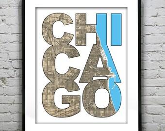 Chicago Typography Vintage Map Poster Art Print Illinois