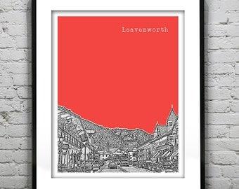 Leavenworth Washington Poster Skyline Art Print WA