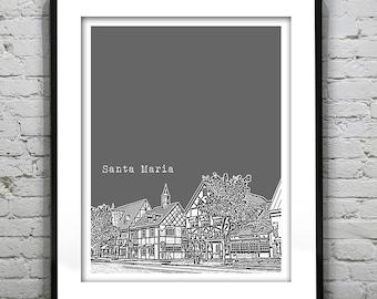 Santa Maria California Skyline Poster Art Print CA