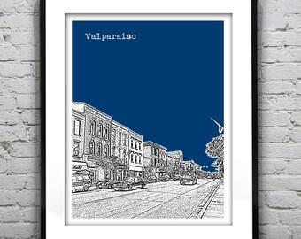 Valparaiso Skyline Poster Art Print Indiana IN Item T1154
