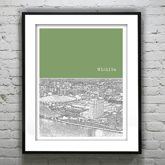Wichita skyline poster art skyline print kansas by for Craft stores wichita ks