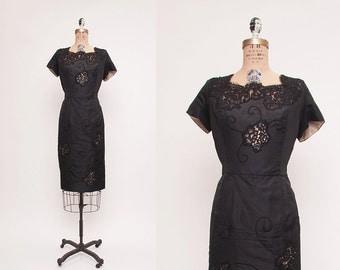 Vintage 1960's Wiggle Dress with Lace Cutouts • Revival Vintage Boutique