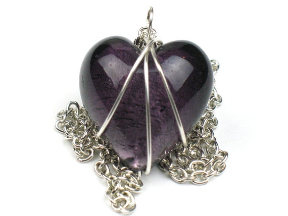 Purple Heart Necklace Mothers Day Gift with Silver Chain and Wire Wrapped Pendant