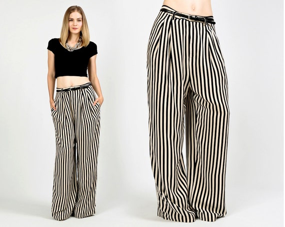 vintage SILK black beige STRIPED Wide Leg Pants trousers