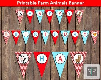 INSTANT DOWNLOAD Farm Animals Birthday Bunting Banner, Printable Farm Birthday Banner, Farm Theme Birthday Flags, Farm Birthday Banner