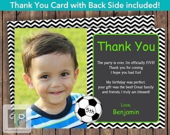 Soccer Photo Thank You Card, Soccer Theme Birthday Thank You Card, Printable Soccer Thank You Card, Soccer Photo Thank You Card