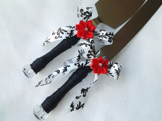 black wedding cake serving set cake server knife set black white satin by 11883