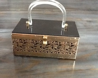 Vintage lucite box  purse // lucite case