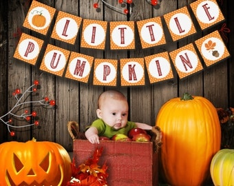 Little Pumpkin Banner Printable: Autumn banner Download - Baby Shower, First Birthday,  Fall Party